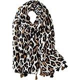 FAIRYGATE Leopard Scarf Women Lady Oversized Long Soft Warm Wrap Shawl Animal Print Scarves