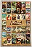 Fallout 4 Magazine Compilation Game Videospiel Poster Plakat Druck - Grösse 61x91,5 cm + Wechselrahmen der Marke Shinsuke® Maxi aus edlem Aluminium (ALU) Profil: 30mm silber