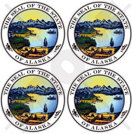 Alaska State Seal USA American Alaskan 50mm (5,1cm) Vinyl bumper-helmet Sticker, Aufkleber X4