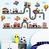WandSticker4U®- stickers muraux enfants TRAFIC ROUTIER (240x110 cm) I voiture autocollants camion pompier véhicule avion anim
