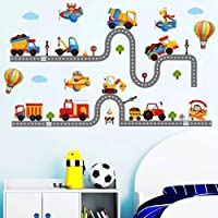 WandSticker4U®- stickers muraux enfants TRAFIC ROUTIER (240x110 cm) I voiture autocollants camion pompier véhicule avion…