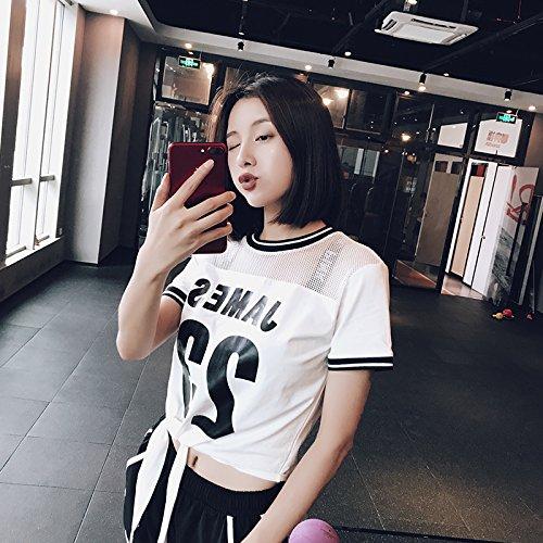 Xuanku Kurze Ärmel Schreiben Speed Dry T-Shirt Lockere Riemen Yoga Anzug Morgen Joggen Fitness Bluse Weiblich, S, Weiß