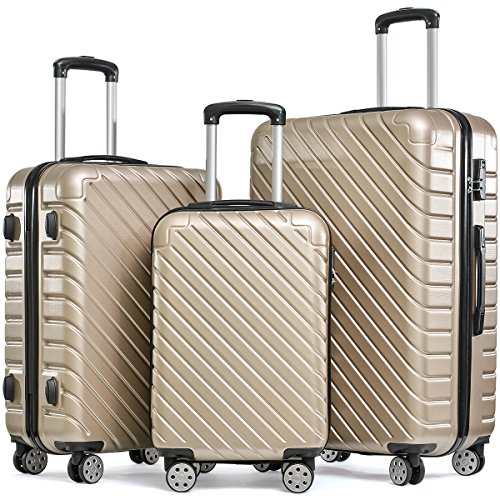 Flieks Hartschale Trolley Koffer Reisekoffer Zwillingsrollen Reisekoffer mit Zahlenschloss Handgepäck mit 4 Doppel-Rollen, XL-L-M (Champagner, Set)