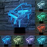 3D klavier musikalische Optische Illusions-Lampen, Tolle 7 Farbwechsel Acryl berühren Tabelle Schreibtisch-Nachtlicht mit USB-Kabel für Kinder Schlafzimmer Geburtstagsgeschenke Geschenk