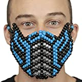 Kandi Gear Blue Sub Zero Kandi Mask Mortal Kombat V2 Full by, rave mask, halloween mask, beaded mask, bead mask for music fesivals and parties