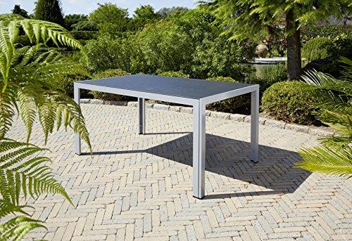 greemotion Tisch Monza silber, Esstisch mit Spraystone-Platte, Gartentisch mit leichtem Aluminiumgestell, wetterfest und pflegeleicht, Maße ca. 150 x 90 x 74 cm