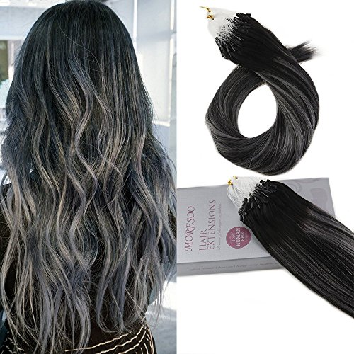Moresoo 18pollice natural black highlighted with silver capelli veri extension 50strands loop micro ring hair extensions capelli veri remy hair salon quality 100% real human hair