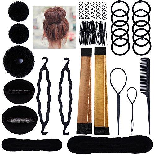 Lictin ciambella chignon accessori acconciature - magic bun maker chignon facile per capelli,capelli pins, pastiglie, schiuma, sponge, ciambella