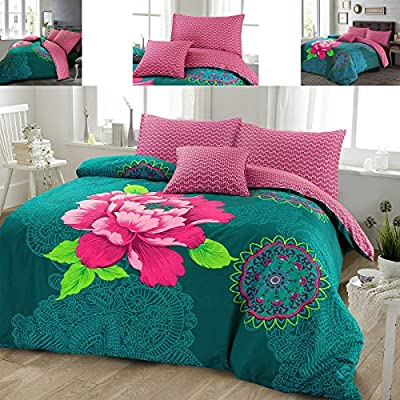 Janice Bohemian Boho Floral Duvet Cover and Pillowcases Teal Plum Bedding Bed Linen Set produced by Vistex Ltd - quick delivery from UK.