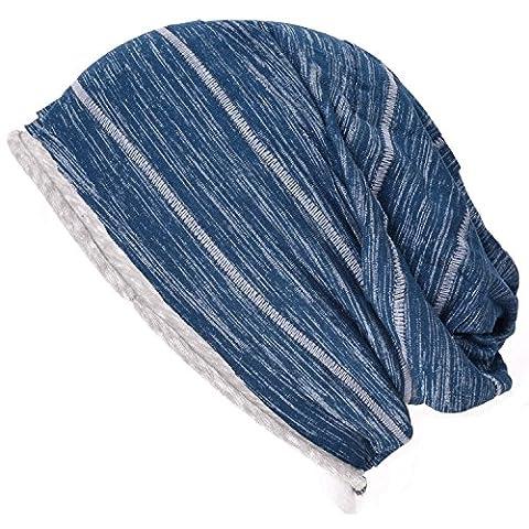 Casualbox Mens Womens Big Slouchy Baggy Beanie Hat Striped Design JAPAN Blue