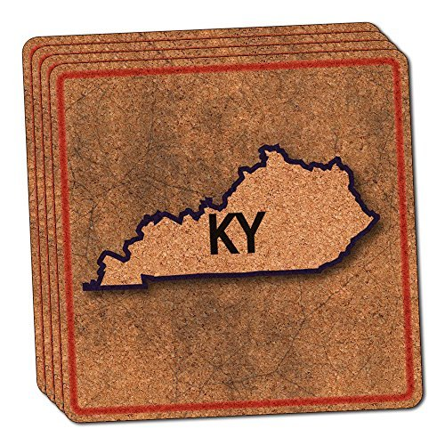 Kentucky KY State Outline on Faded Blue Thin Cork Coaster Set of 4 by Made on Terra -