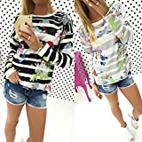 Search : Hansee Women Casual Sweatshirt Pullovers, Striped Floral Print Long Sleeve Jumpers