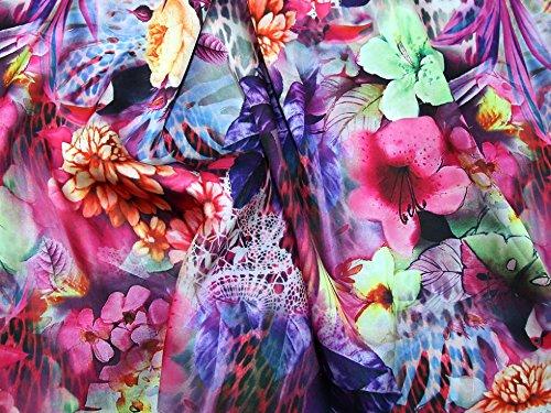 Minerva Crafts Floral Print Slinky Satin Kleid Stoff Lila–Meterware -