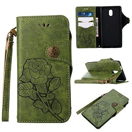 Nokia 3 Hülle, Nokia 3 Lederhülle, Nokia 3 Hülle Brieftasche, BONROY Retro Rosen Muster Grün Handyhülle Schutzhülle PU Leder Flip Tasche Case Handycover Stoßfest Bumper Wallet Case mit Integrierten Kartensteckplätzen und Ständer für Nokia 3