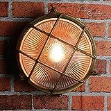 Wandlampe Außen Antik Echt-Messing Rostfrei E27 Riffelglas Käfigschirm IP64 Feuchtraumleuchte Außenleuchte Haus - 4