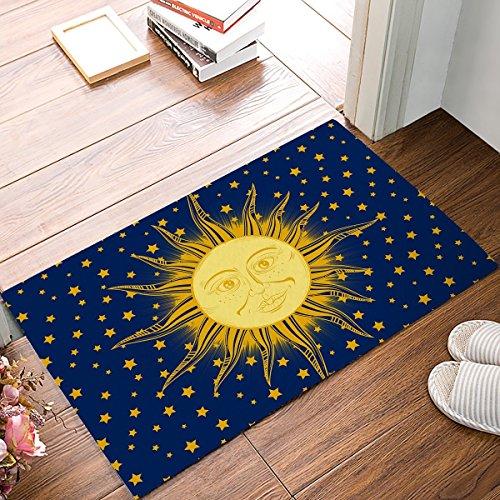 Fußmatte für Innen Eingang Boden Low Profile Welcome Schuhe Schaber Badezimmer Teppiche Hippie Sonne 59,9x 39,9cm -