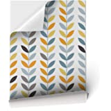 Papel Adhesivo de Vinilo para Muebles y Pared - 45x200cm - Hojas de Colores, Fondo Blanco - Vinilo Resistente, Impermeable y