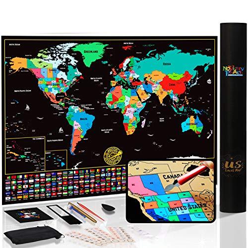 Mapa del mundo para rascar con estados y banderas