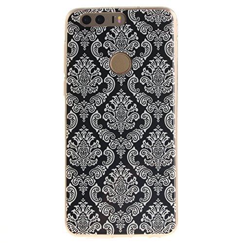 Ooboom® Huawei Honor 8 Hülle TPU Silikon Gel Ultra Dünn Schutzhülle Handy Tasche Case Cover für Huawei Honor 8 - Totem Blume Schwarz