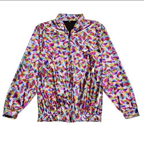 BFD Bomberjacke für Herren und Damen, metallisch, glänzend, leicht, Slim Fit Gr. Small/Medium, Regenbogenfarben