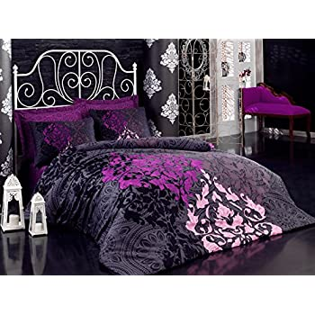 mako satin luxus bettw sche 200x200 cm magenta 3 teilig 100 baumwolle k che haushalt. Black Bedroom Furniture Sets. Home Design Ideas