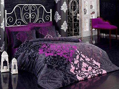 Optima Mako Satin Kösem Luxus Bettwäsche 200x200 cm 5 teilig 100% Baumwolle Orientmuster