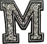 Bügel Iron on Buchstaben Aufnäher Patches groß für Jacken Cap Hosen Jeans Kleidung Stoff Kleider Bügelbilder Sticker Applikation Aufbügler zum aufbügeln M CA 8-10 cm