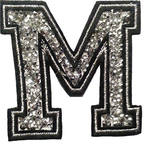 """Écusson Patch Badge strass Brodé ecusson lettre alphabet thermocollant """" M 8 - 10 cm """""""