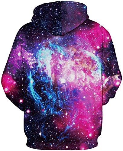 TDOLAH 3D Unisexe Sweatshirts Galaxy Cordon Imprimé Poches Noël Sweater capuche Hoodie Plus Velours La Voie Lactée-1