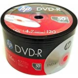 50 Pack HP Blank DVD-R DVDR Logo Branded 16X 4.7GB 120min Recordable Media Disc + 50 White Paper Sleeves Window Flap Envelope