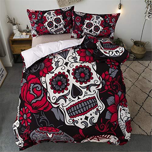 Juego de ropa de cama Sugar Skull Rojo Girasol y edredón de calavera Funda nórdica para Halloween...