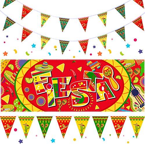 4 Stücke Fiesta Dekoration Kit Einschließlich 1 Fiesta Banner, 2 Fiesta Wimpel Banner und 1 Stück 13 Fuß Schnur für Mexikanische Themen Party, Partybedarf