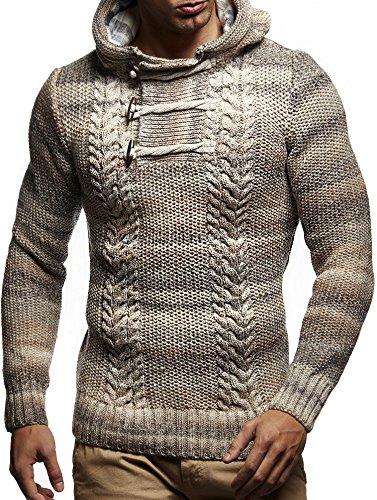 LEIF NELSON Herren Pullover Hoodie Kapuzenpullover Strickpullover Sweatpullover Longsleeve Sweatshirt Pulli LN20743; Gr__e M, Beige
