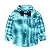 Yilaku Baby Jungen Bekleidungssets Hosen & Shirt Gentleman Hosenträger Krawatte (Blau, 6-12 Monate)