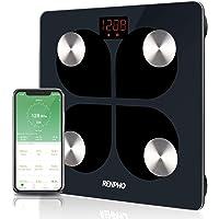 Pèse-personne Impédancemètre Bluetooth RENPHO - Pèse-personne numérique Smart BMI pour salle de bain, analyseur de composition corporelle rechargeable USB avec iOS et Android