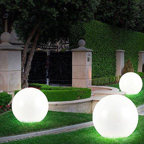 3x LED Solar Kugel Leuchten Garten Lampen Außen Beleuchtung Erdspieß Strahler D 20, 25, 30 cm