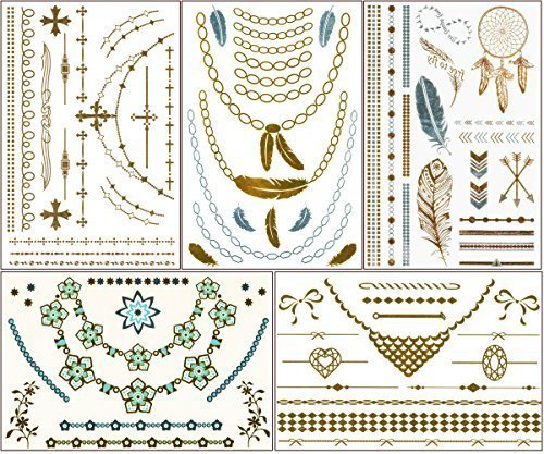 chictats-metallic-gold-silver-temporary-flash-tattoos-5-sheet-pack-bling-body-art-jewelry-for-women-