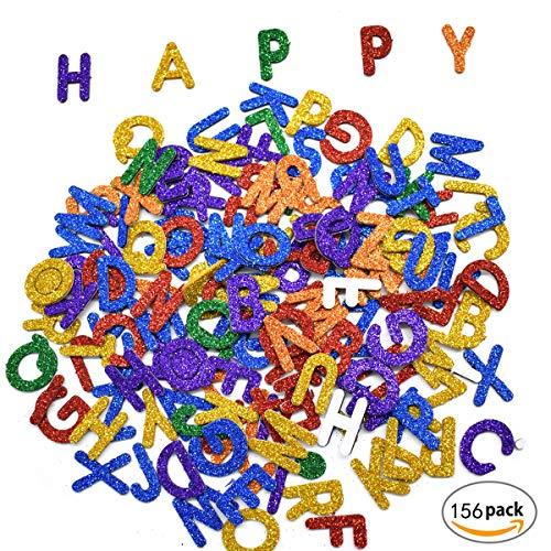 Aufkleber Buchstaben,Mengger Kinder Glitter Schaumstoff Alphabet Sticker Selbstklebende Aufkleberbogen Weihnachten Dekorative für Kunst Bastelbedarf Grußkarten für Wand-DIY Satz 6 Aufkleber Buchstaben -