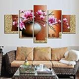 La Vie 5 Teilig Wandbild Gemälde Hochwertiger Leinwand Bilder Rosa Orientalische Blume Poster Drucken Moderne Kunstdruck für Zuhause Wohnzimmer Schlafzimmer Küche Hotel Büro Geschenk