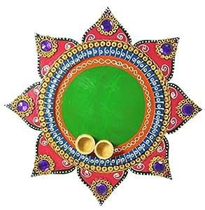 Indian handicraft Gift Handmade MDF/Wooden Pooja Thali/Plate Set (Green)