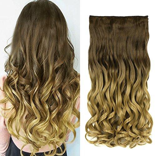 Neverland 24 pouces (60cm) de Full Clip Tête dans les extensions de cheveux ondules boucles Ombre dip-dye 1B#/27#