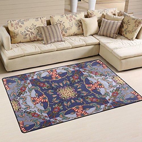 yibaihe, leicht, bedruckt mit Deko-Teppich, Teppich, modern Floral Muster, orientalischer Stil wasserabweisend stoßfest. Für Wohn- und Schlafzimmer 80x 51cm -