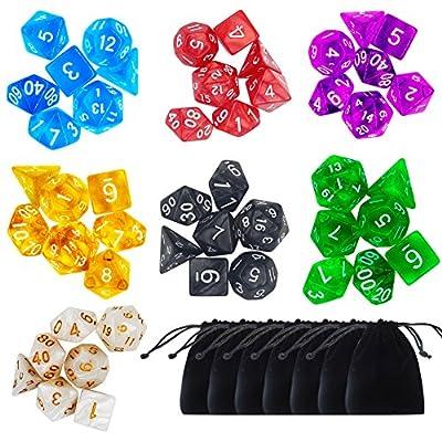 Paxcoo 49 Dés Jeux De Role Donjons et Dragons D&D Dice 7 petits Sacs à Dés Velours Large Gratuit Dés en 7 Couleurs D4