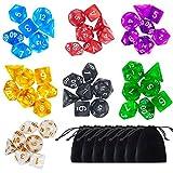Paxcoo 7 x 7 (49 pezzi) Polyhedral Dadi Set con i sacchetti di Dungeons and Dragons DND MTG RPG D20 D12 D10 D8 D6 D4 Tabella Giochi di carte