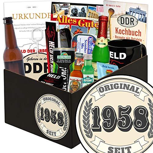 Original seit 1958 | Mann Geschenkbox | Geschenk Korb | Original seit 1958 | Männer Geschenke | ausgefallene Geschenke für Männer | Geschenke zum 60 Geburtstag Papa | GRATIS DDR Kochbuch