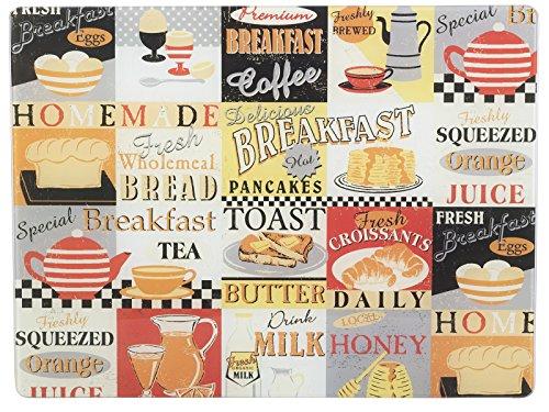 Everyday Home Retro-Frühstück Arbeitsplattenschutz aus Glas, 40 x 30 cm (16 x 12)