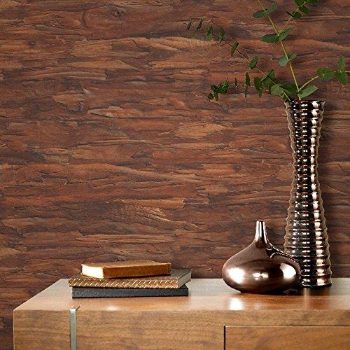 Rasch Baumrinde Muster Tapete Holz Faux-effekt Realistisch Texturiert - Kupfer Braun 419375