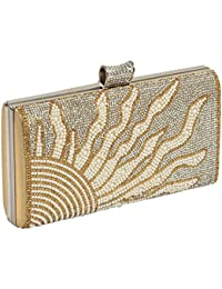 24X7 Emall Women's Clutch (Gold,Premium Pearl Diamond Silver Two Sided)