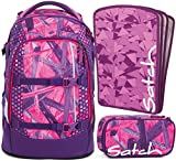 satch pack Candy Lazer 3er Set Rucksack, Schlamperbox & Heftebox Lila