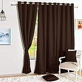Story@Home Blackout Faux Silk Superior 2 Piece Plain Solid Window Curtains, 5 feet, Dark Brown